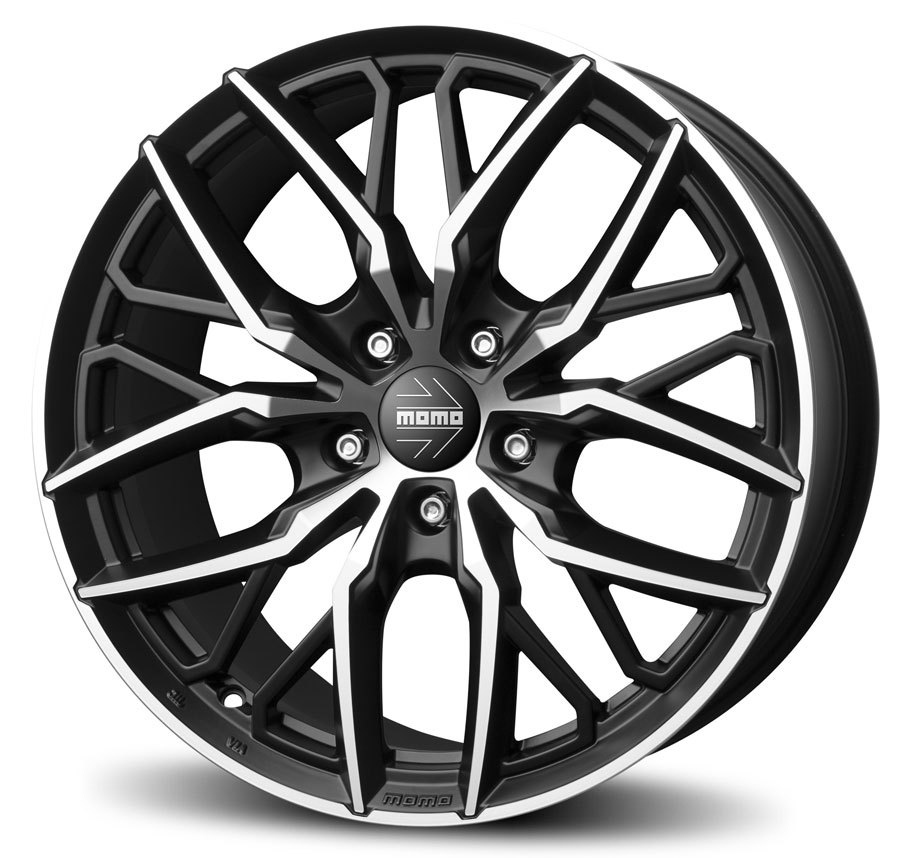 matt black diamond cut spider momo italy pcd size 19 alloy R Racing Wheels developed and managed by weblinkindia net